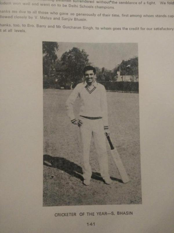 Sanjiv Bhasin's picture in the school magazine as 'The Cricketer of the Year'