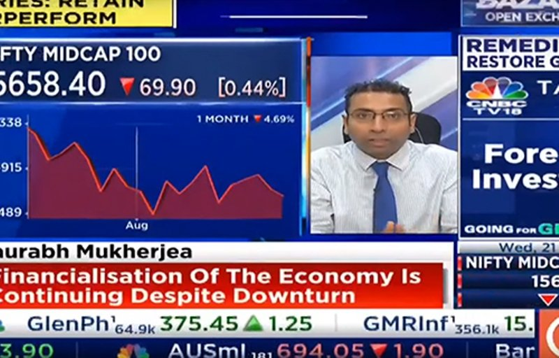 Saurabh Mukherjea's discussing stocks on a news channel