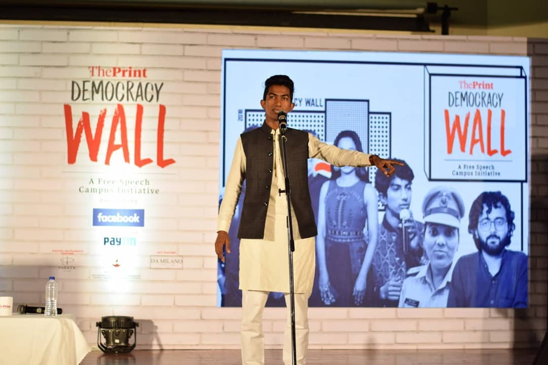 Shyam Rangeela performing in The Print's Democracy Wall