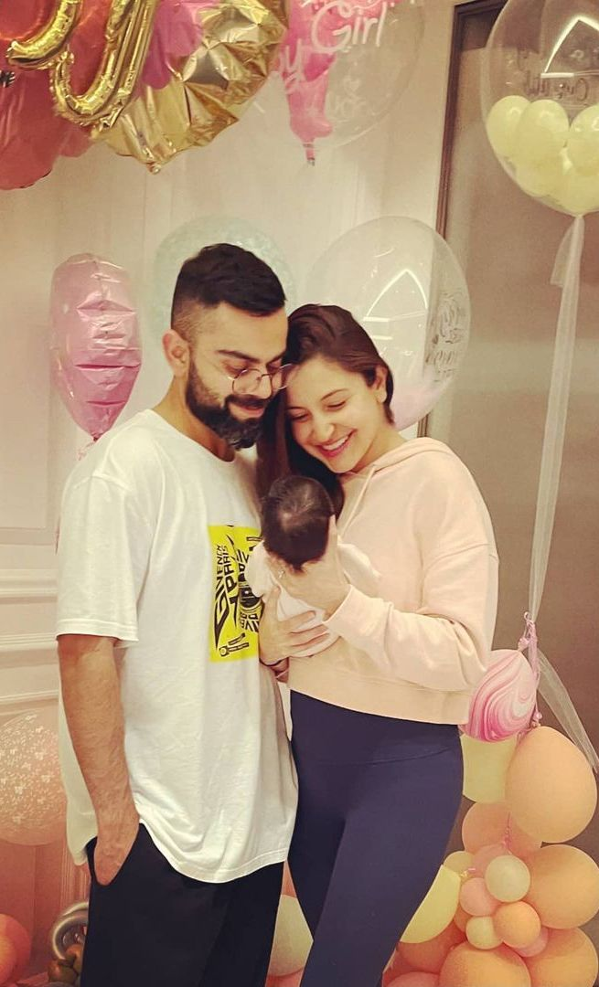 Virat Kohli and Anushka Sharma with their new born daughter, Vamika