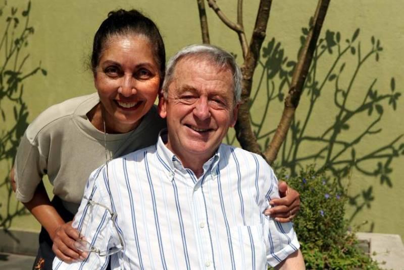 Reita Faria with her husband
