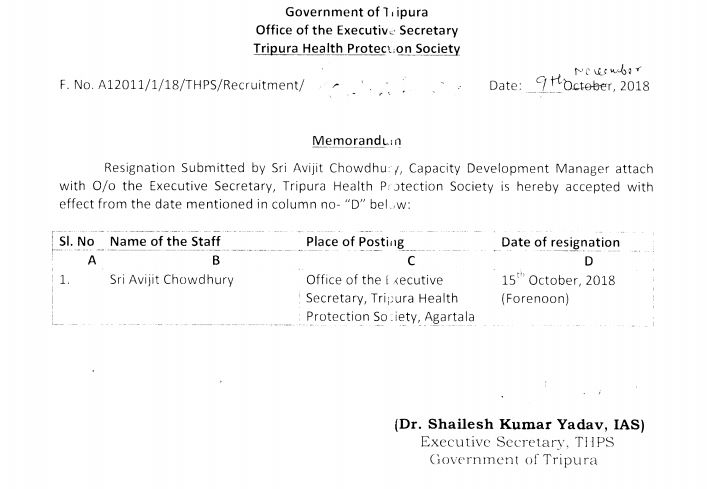 A memorandum undersigned by Shailesh Kumar Yadav as the Executive Secretary of THPS