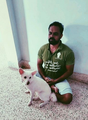 Chakravarthy Chandrachud with his pet dog