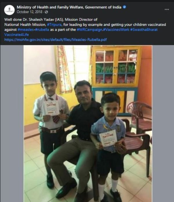 Dr. Shailesh Kumar Yadav lauded by the Ministry of Health and Family Welfare, Government of India for getting his children vaccinated against measles and rubella