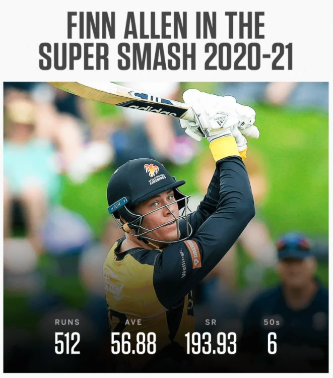 Finn Allen's batting statistics in the 2020-21 Dream11 Super Smash