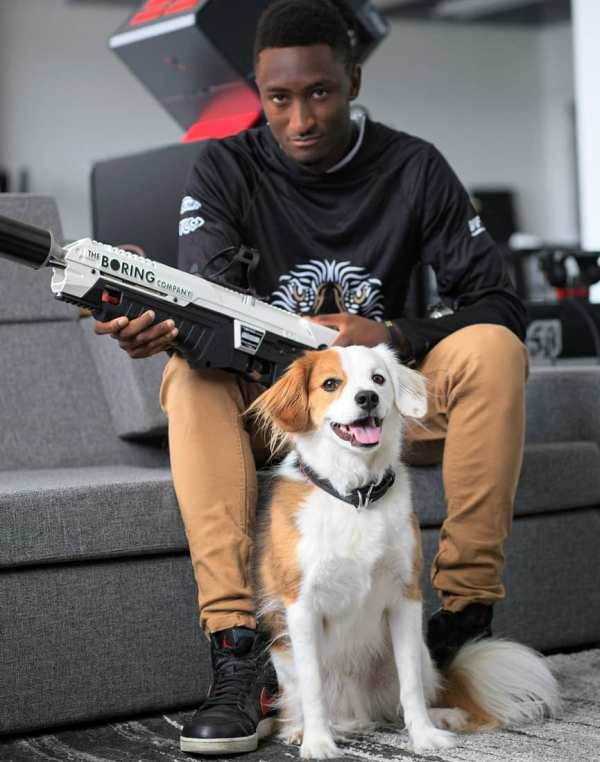 Marques Brownlee with his dog