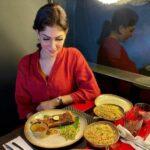 Pushpika De Silva eating nonvegetarian food
