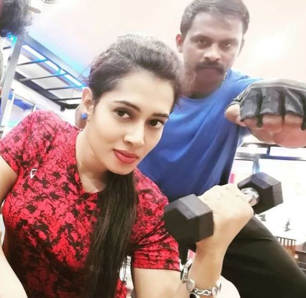 Remya Panicker's picture that she posted on her social media to motivate her followers to work on their fitness