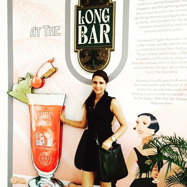 Shipra Khanna 100-year celebration of Long bar at Raffles, Singapore