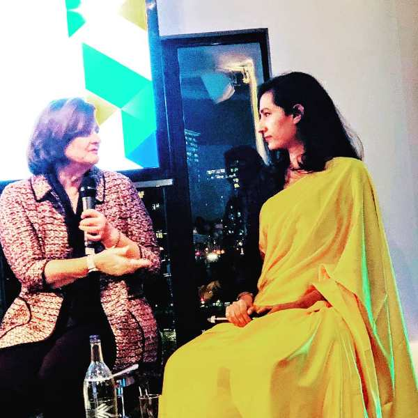 Karuna while speaking to the anchor at Trust Law Awards London, 2019