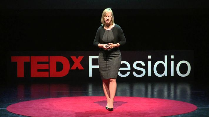 Ann Winblad during a TED conference