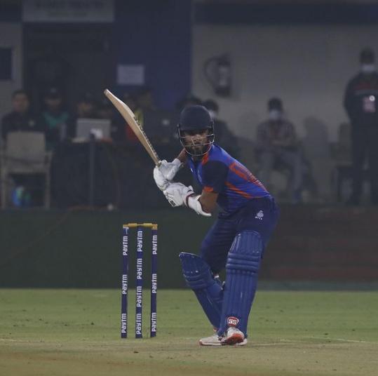 Rajat Patidhar for his his domestic side Madhya Pradesh during SMA Trophy 2021