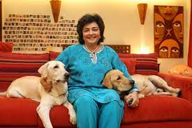 Zia Mody with her pet dogs at her residence in Mumbai
