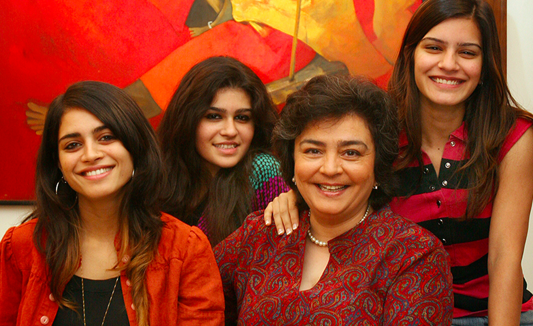 Zia Mody with her three daughters