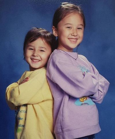 A childhood picture of Nancy with her elder sister
