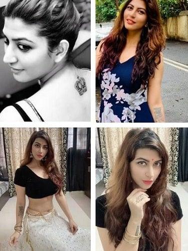 A collage of Sara Sharma's tattoos