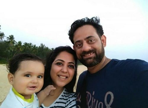 Afshan Anjum with her husband and son