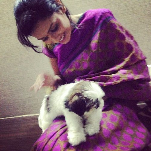 Hruta Durgule with her pet dog