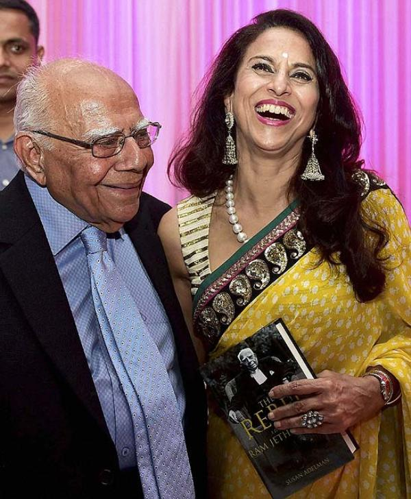 Lawyer Ram Jethmalani with Shobhaa De on the launch of his book The Rebel