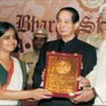 Sunita Narain while receiving Bharat Shiromani award for the year 2006 by Shiromani Institute