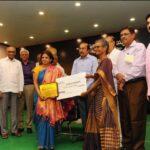 Sunita while receiving Sri Chukkapalli Pitchaiah Foundation Award for 2017