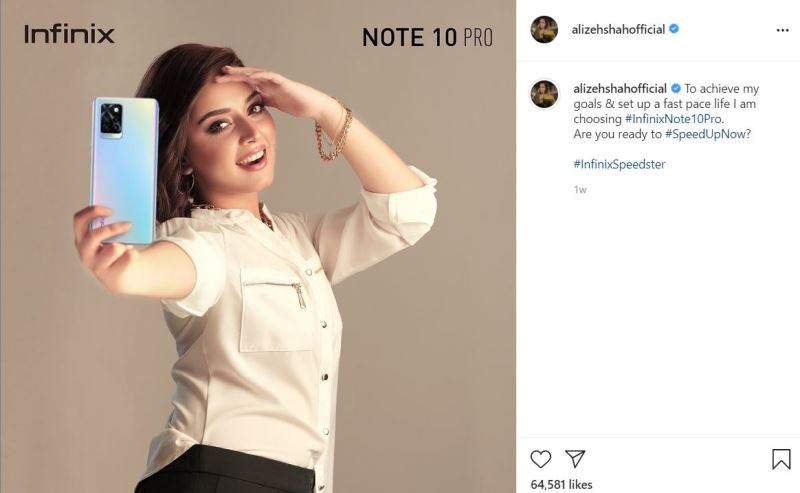 Alizeh Shah promoting a local brand on her Instagram account