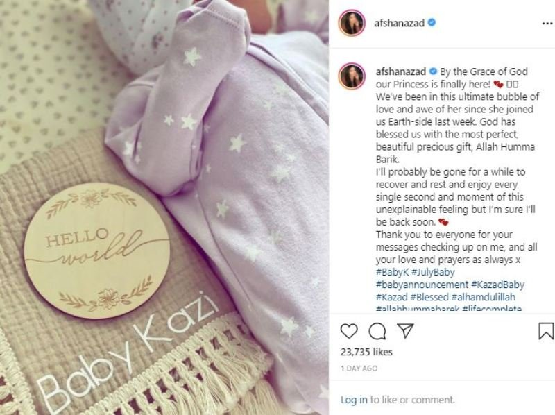 Afshan Azad's Instagram post about her first child, a baby girl