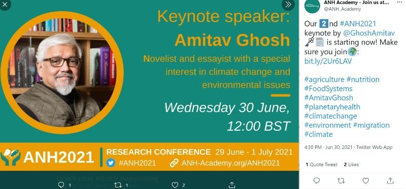Amitav Ghosh on a cover page of an invitation of a conference on environment