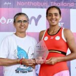 Ankita Raina (right) with mother Lalita Raina, following her title triumph in both singles and doubles in the ITF Women's event in Thailand