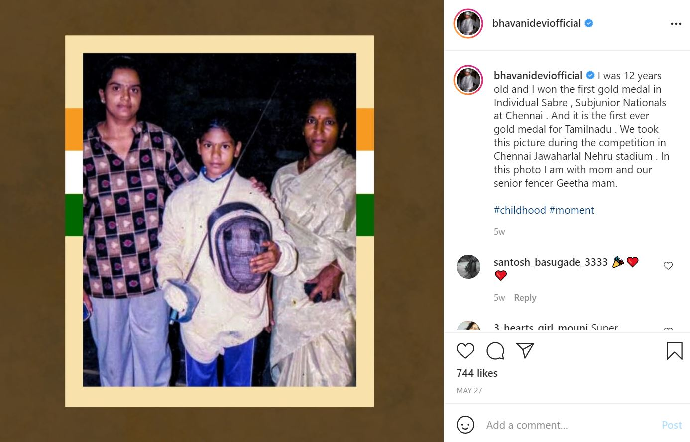 The screenshot of Bhavani Devis's Instagram post (when she won her first gold medal in Individual Sabre at the age of 12)
