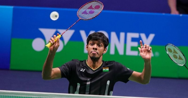 Chirag Shetty playing with a Voltric 80 E-tune badminton racket