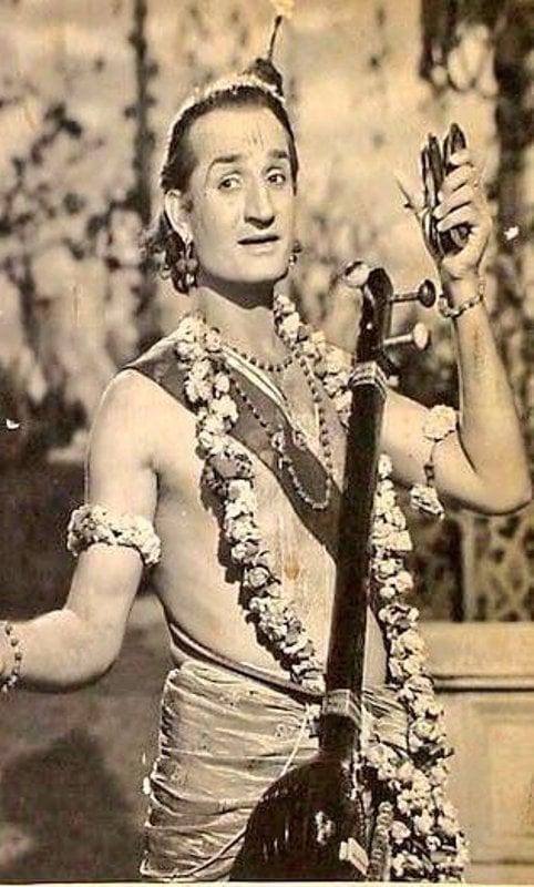 Jeevan as Narad Muni in a film