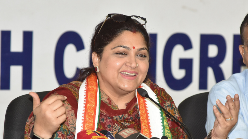 Khushbu Sundar while addressing the party members as a spokesperson of the Indian National Congress