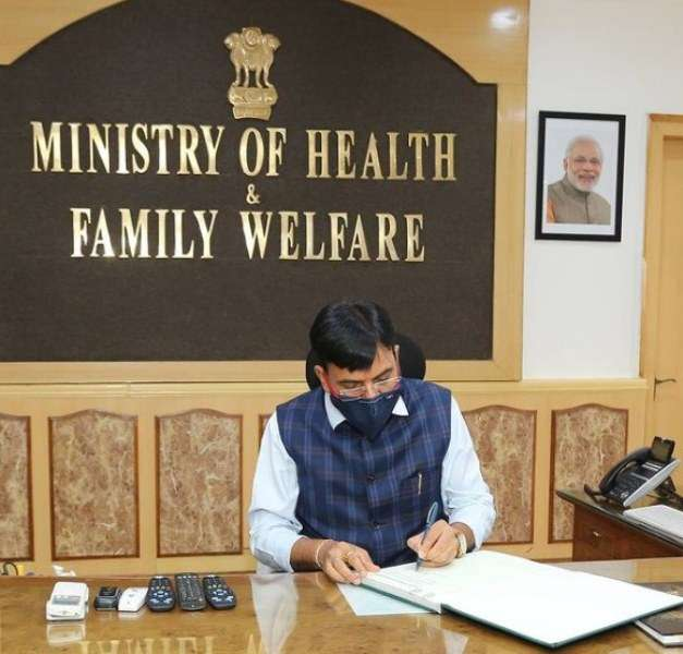 Mansukh Madaviya assuming his office as Minister of Health and Family Welfare