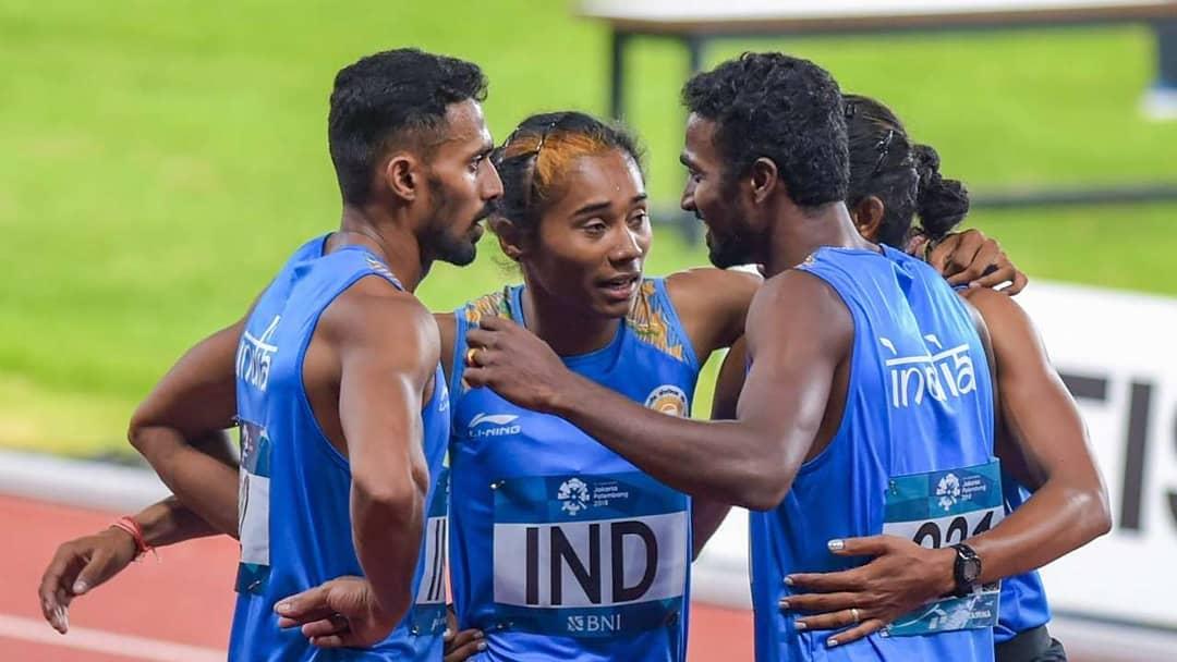 Mohammad Anas Yahiya in the mixed relay at the 2018 Asian Games