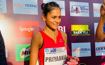 Priyanka Goswami after getting a ticket to Tokyo Olympics