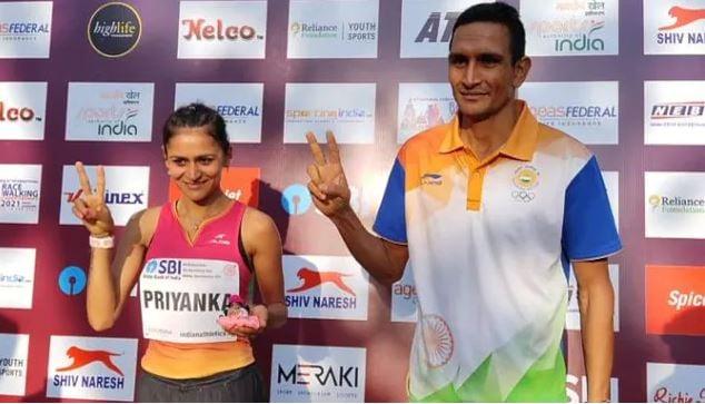 Priyanka Goswami after winning the open national championship 2021