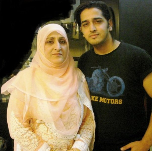 Qazi Touqeer with his mother