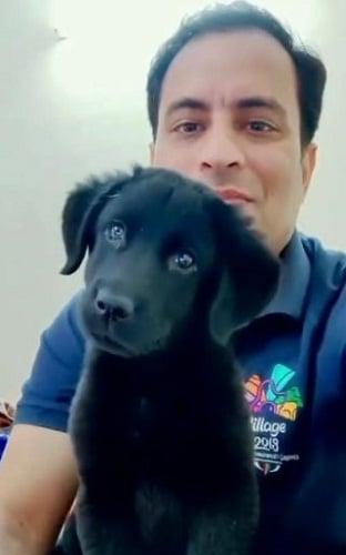 Sanjeev Rajput with his pet dog