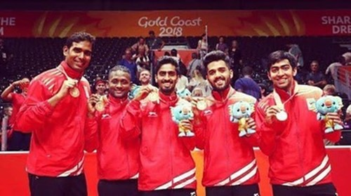 Sharath Kamal and his teammates with the gold medals at the 2018 Commonwealth Games Gold Coast