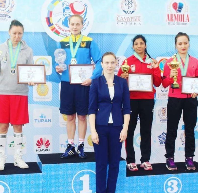 Simranjit Kaur at Senior International Championship in Kazakhstan