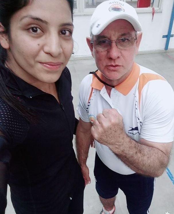 Simranjit Kaur with her coach