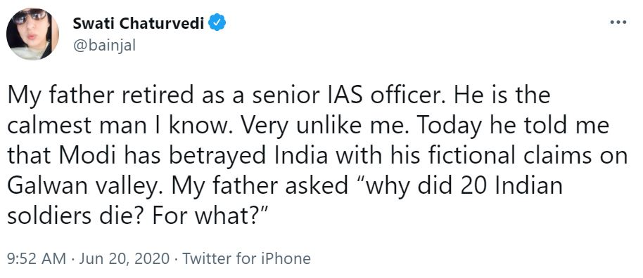 Swati Chaturvedi's tweet about her father