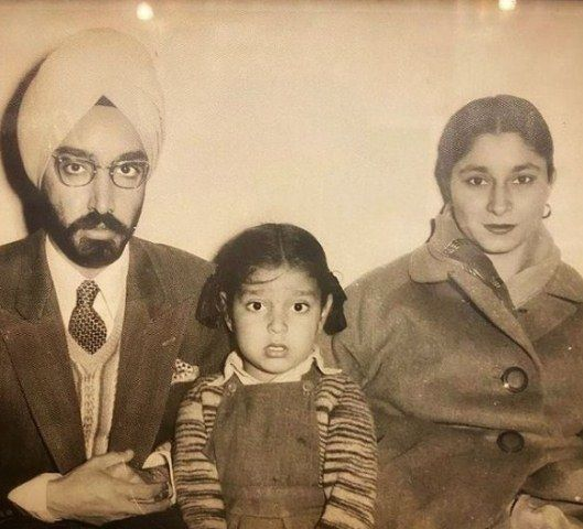 A childhood picture of Hardeep Singh Puri with his parents