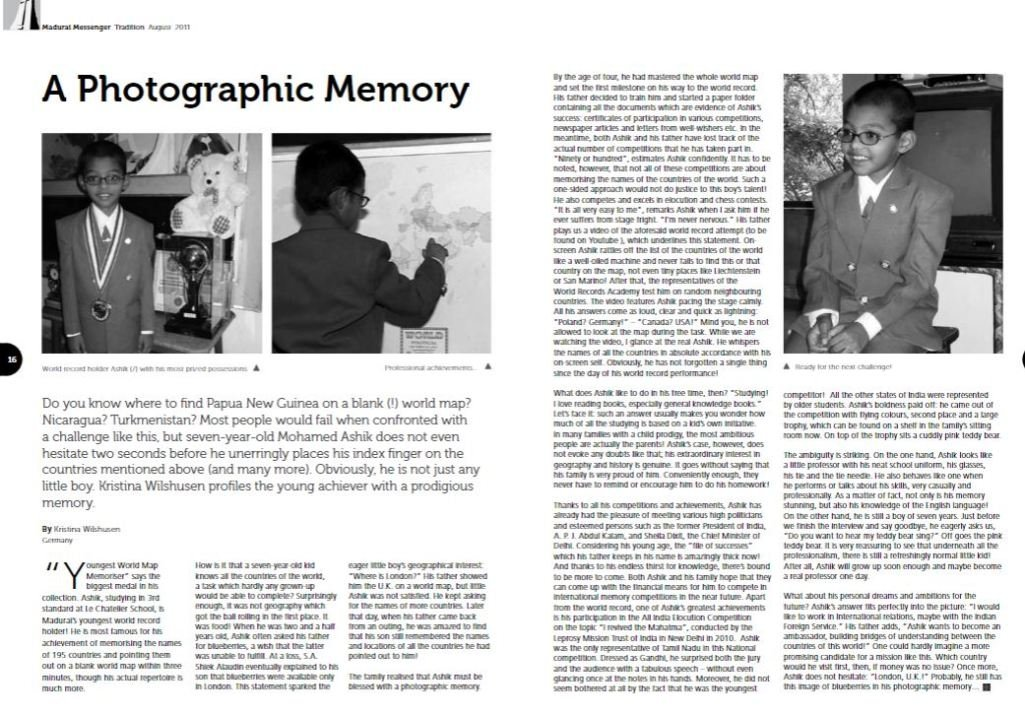 An article that labels Ashik as A Photographic Memory