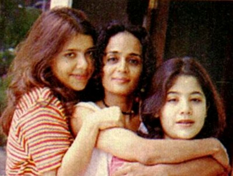 Arundhati Roy with her daughters