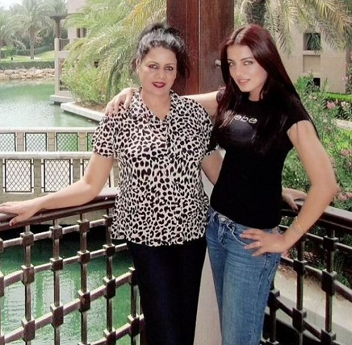 Celina Jaitly with her mother
