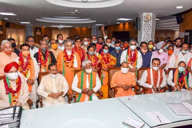 Hardeep Singh Puri (extreme right in the front row) after filing his nomination for the 2020 Rajya Sabha elections