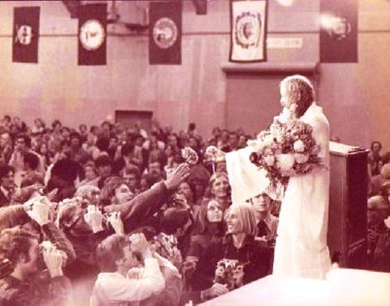 Maharishi Mahesh Yogi during one of his lectures on a world tour