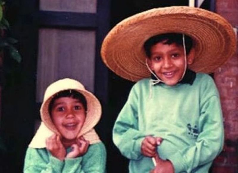 Mira Sethi's (left) childhood picture with her elder brother